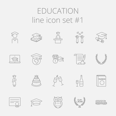 Onderwijs pictogram set. Vector donkergrijs pictogram op een lichtgrijze achtergrond. Stockfoto - 50784028