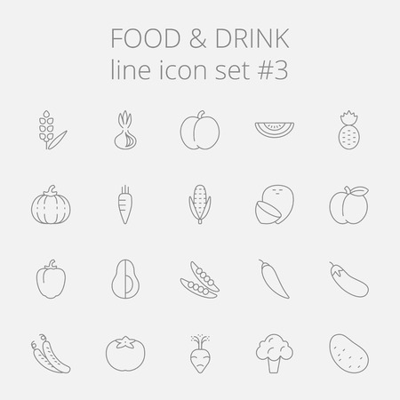 Food and drink icon set. Vector dark grey icon isolated on light grey background.