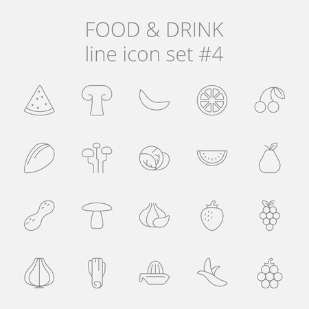 Voedsel en drank icon set. Vector donkergrijs pictogram geïsoleerd op lichtgrijze achtergrond. Stockfoto - 50784034
