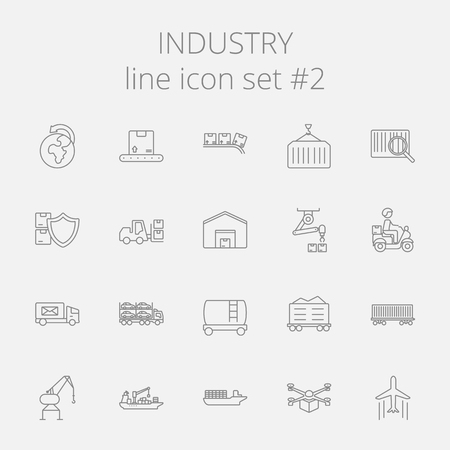 Industry icon set. Vector dark grey icon isolated on light grey background.