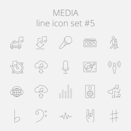 Media icon set. Vector dark grey icon isolated on light grey background.