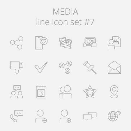 Medien-Icon-Set. Vector dunkelgrau-Symbol auf hellgrauem Hintergrund. Standard-Bild - 50784011