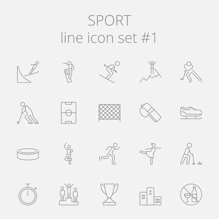 Sport icon set. Vector dark grey icon isolated on light grey background.