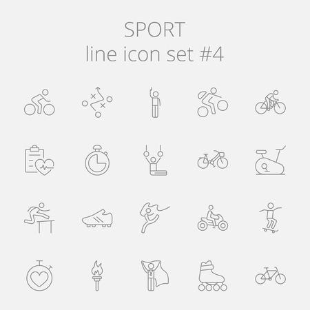 Sport icon set. Vector dark grey icon isolated on light grey background.