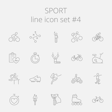 grey line: Sport icon set. Vector dark grey icon isolated on light grey background.