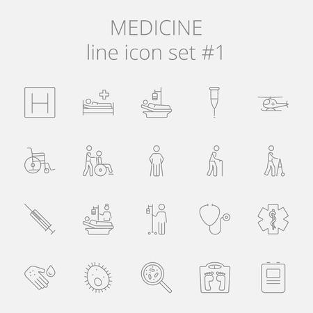hospital germ: Medicine icon set. Vector dark grey icon isolated on light grey background. Illustration