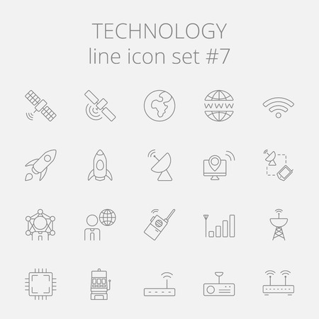 wireless signal: Technology icon set. Vector dark grey icon isolated on light grey background. Illustration