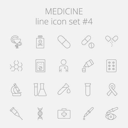 grey: Medicine icon set. Vector dark grey icon isolated on light grey background. Illustration