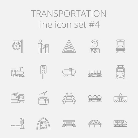 Transportation icon set. Vector dark grey icon isolated on light grey background.