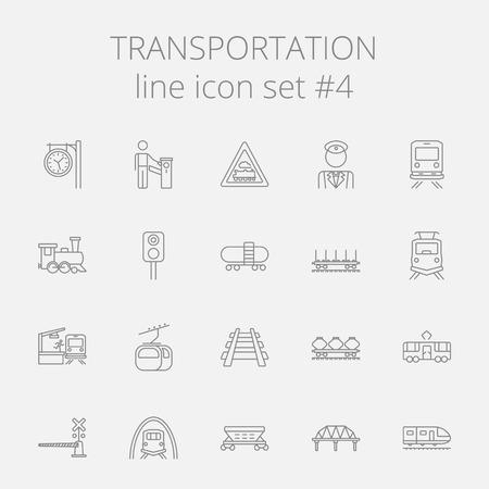 Transportation icon set. Vector dark grey icon isolated on light grey background.