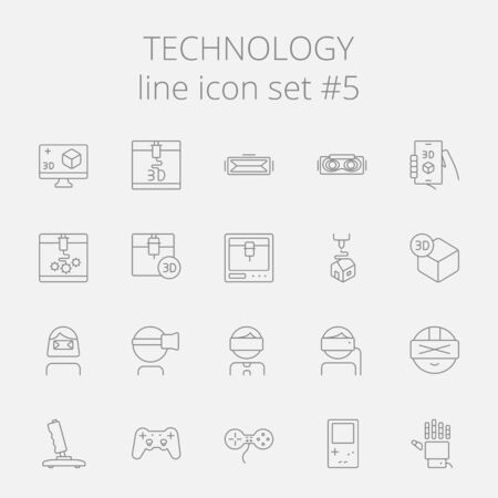 Technology icon set. Vector dark grey icon isolated on light grey background. Illustration
