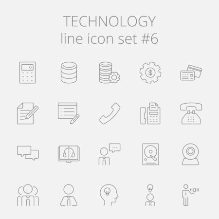 data system: Technology icon set. Vector dark grey icon isolated on light grey background. Illustration