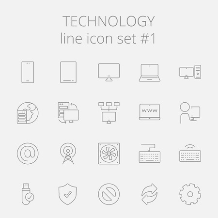 laptop screen: Technology icon set. Vector dark grey icon isolated on light grey background. Illustration