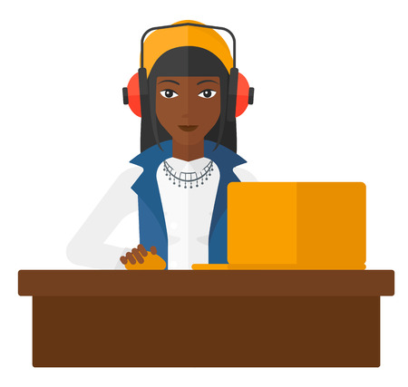An african-american woman sitting at the table and working at the laptop vector flat design illustration isolated on white background.