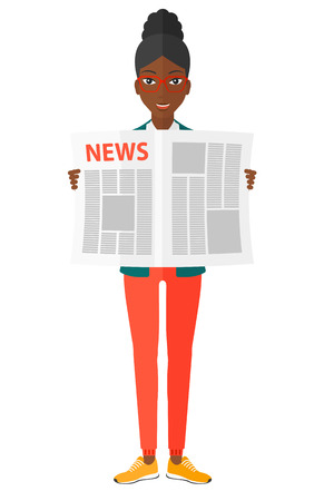 An african-american happy reporter reading the newspaper with her article vector flat design illustration isolated on white background. Illustration