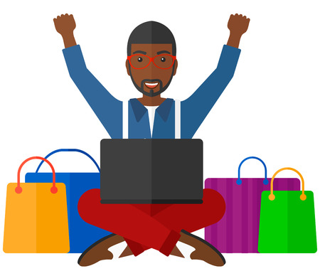 white goods: An african-american  man sitting in front of laptop with hands up and some bags of goods nearby vector flat design illustration isolated on white background.