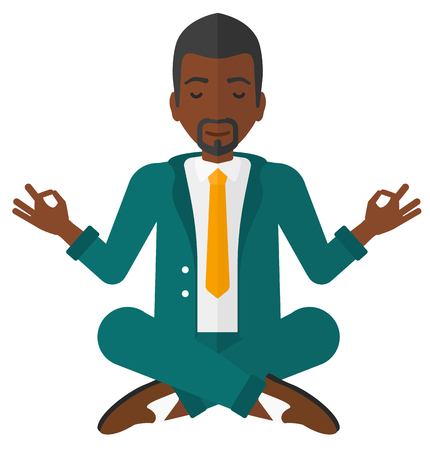 white people: A businessman meditating in lotus pose vector flat design illustration isolated on white background.