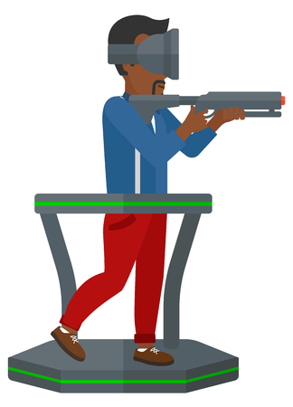 An african-american man wearing virtual reality headset standing on a treadmill with a gun in hands vector flat design illustration isolated on white background.