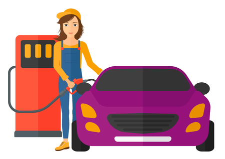 filling: A woman filling up fuel into the car vector flat design illustration isolated on white background. Horizontal layout. Illustration