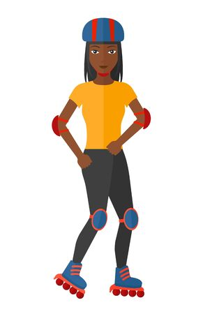 rollerskates: A sporty african-american woman on the roller-skates vector flat design illustration isolated on white background. Illustration