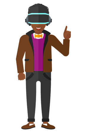 man pointing up: An african-american man wearing a virtual relaity headset and pointing a forefinger up vector flat design illustration isolated on white background. Illustration