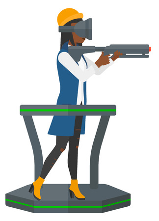 An african-american woman wearing virtual reality headset and standing on a treadmill with a gun in hands vector flat design illustration isolated on white background.