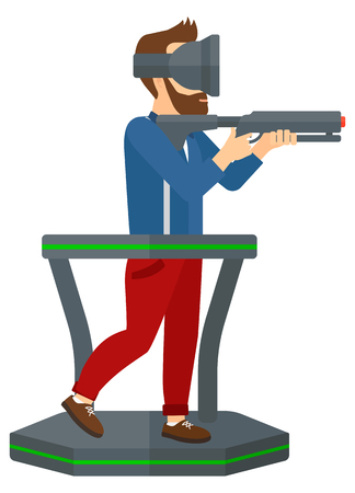 Man wearing virtual reality headset and standing on a treadmill with a gun in hands vector flat design illustration isolated on white background.