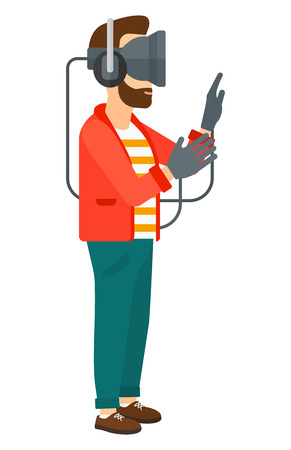 A  man wearing a virtual relaity headset vector flat design illustration isolated on white background.