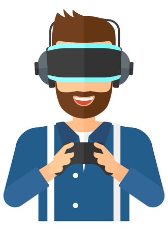 A  man wearing a virtual relaity headset with remote control in hands vector flat design illustration isolated on white background.