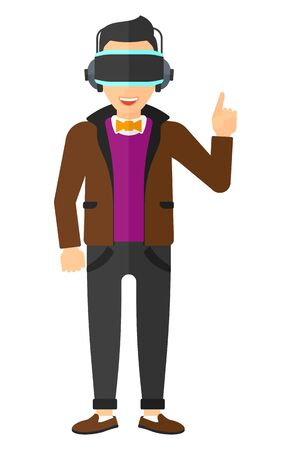 A  man wearing a virtual relaity headset and pointing a forefinger up vector flat design illustration isolated on white background. Illustration