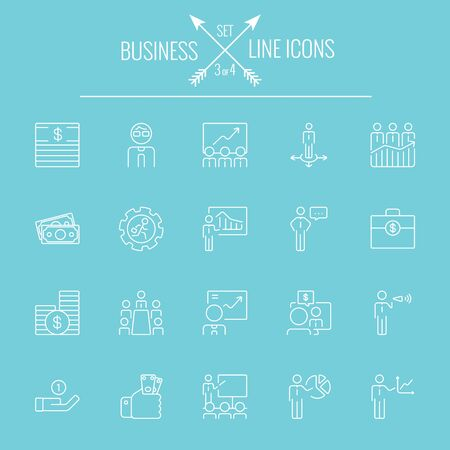 Business icon set. Vector white icon isolated on light blue background. Vectores