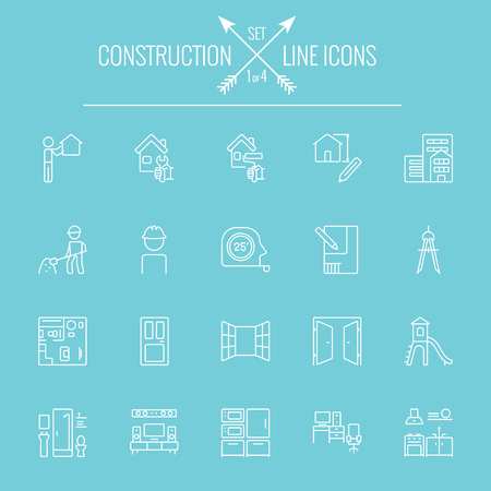 Construction icon set. Vector white icon isolated on light blue background.