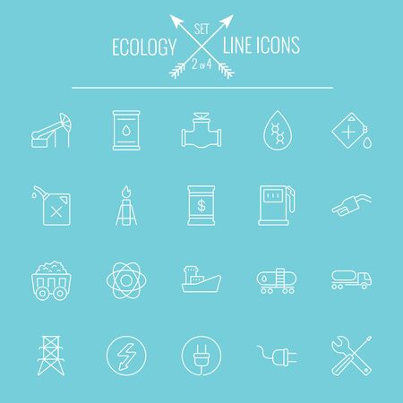 Ecology icon set. Vector white icon isolated on light blue background.