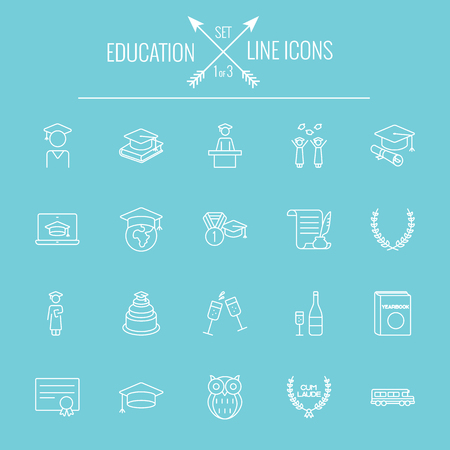 line drawing: Education icon set. Vector white icon isolated on light blue background.