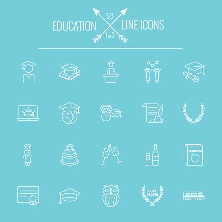 lijntekening: Onderwijs pictogram set. Vector wit pictogram op een lichtblauwe achtergrond.