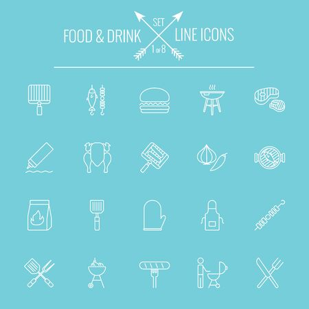 Food and drink icon set. Vector white icon isolated on light blue background. Stock Vector - 51114203