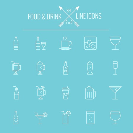 Food and drink icon set. Vector white icon isolated on light blue background.