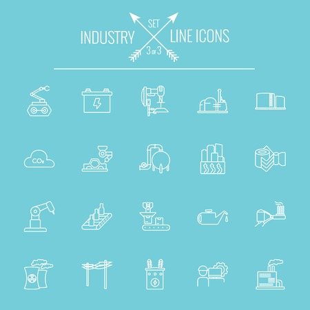 Industry icon set. Vector white icon isolated on light blue background.