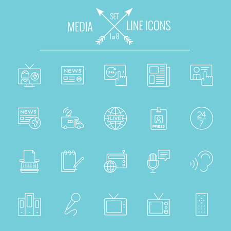 Media icon set. Vector white icon isolated on light blue background.