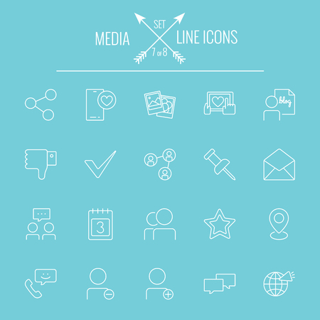 users video: Media icon set. Vector white icon isolated on light blue background.