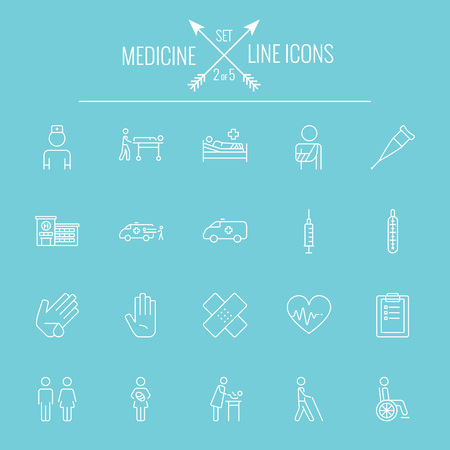 termometer: Medicine icon set. Vector white icon isolated on light blue background.