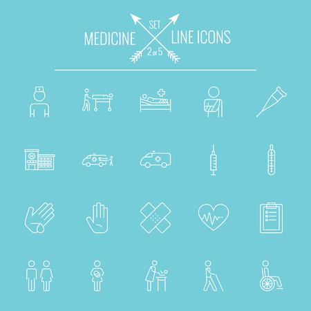 emergency medical: Medicine icon set. Vector white icon isolated on light blue background.