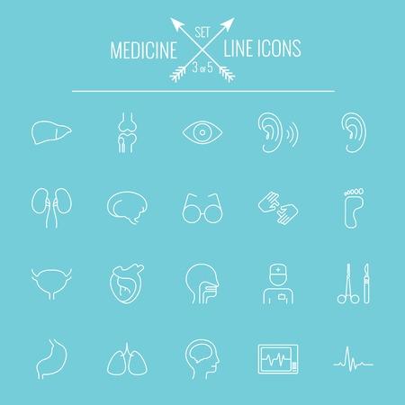 Medicine icon set. Vector white icon isolated on light blue background.