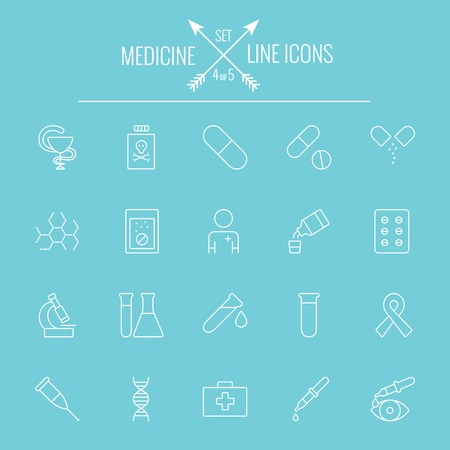 Medicine icon set. Vector wit pictogram op een lichtblauwe achtergrond. Stock Illustratie