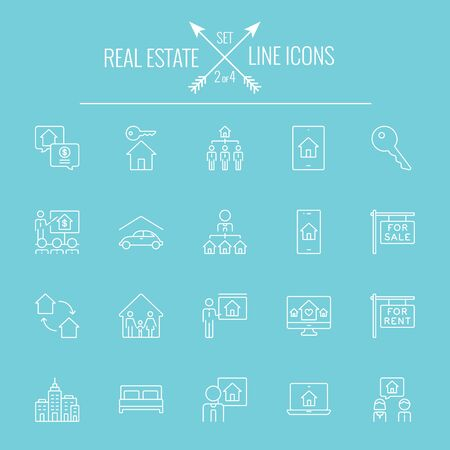 Real estate icon set. Vector white icon isolated on light blue background. Illustration