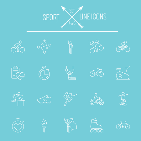 Sport icon set. Vector white icon isolated on light blue background. Ilustrace