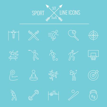 Sport icon set. Vector white icon isolated on light blue background. Ilustrace