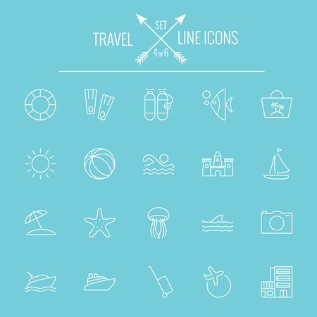 Travel and holiday icon set. Vector white icon isolated on light blue background.