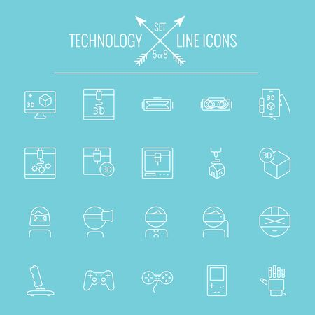 symbol icon: Technology icon set. Vector white icon isolated on light blue background. Illustration
