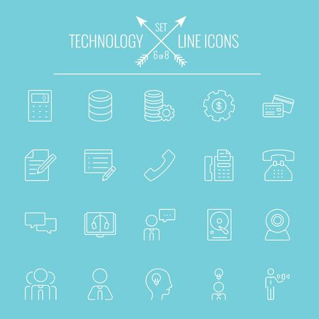 computer equipment: Technology icon set. Vector white icon isolated on light blue background. Illustration